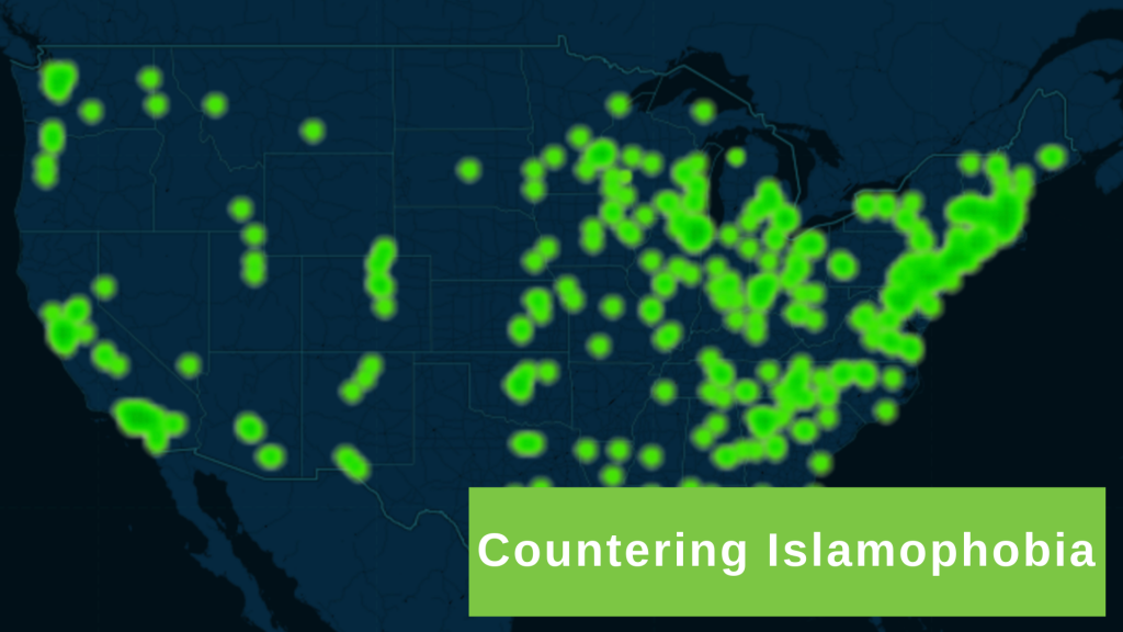 Screenshot of Countering Islamophobia Map, with title overlaid on the right