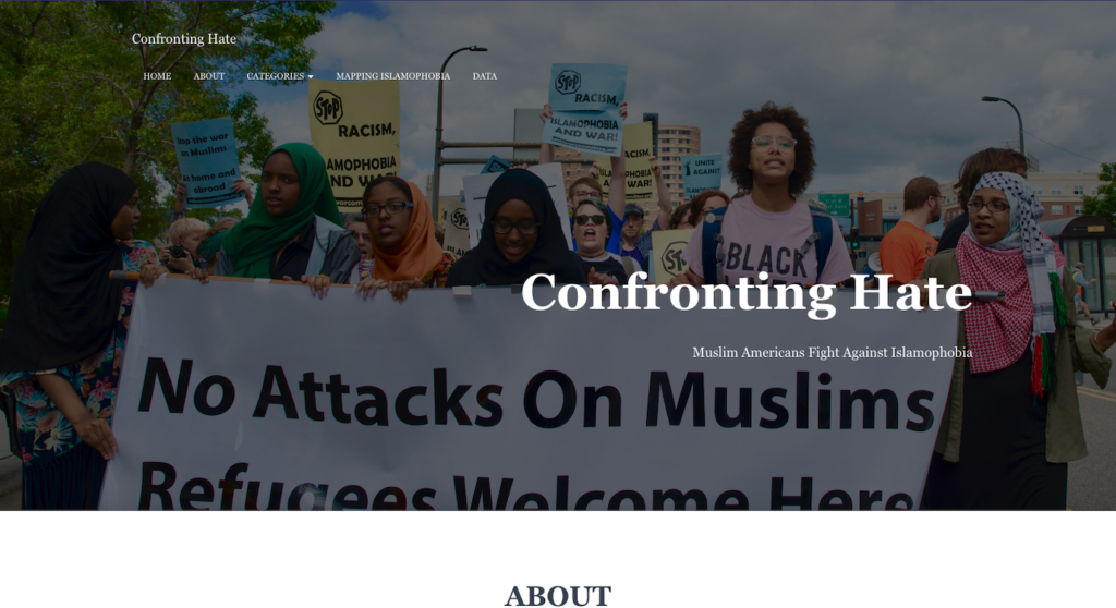 Screenshot of the Confronting Hate companion site homepage