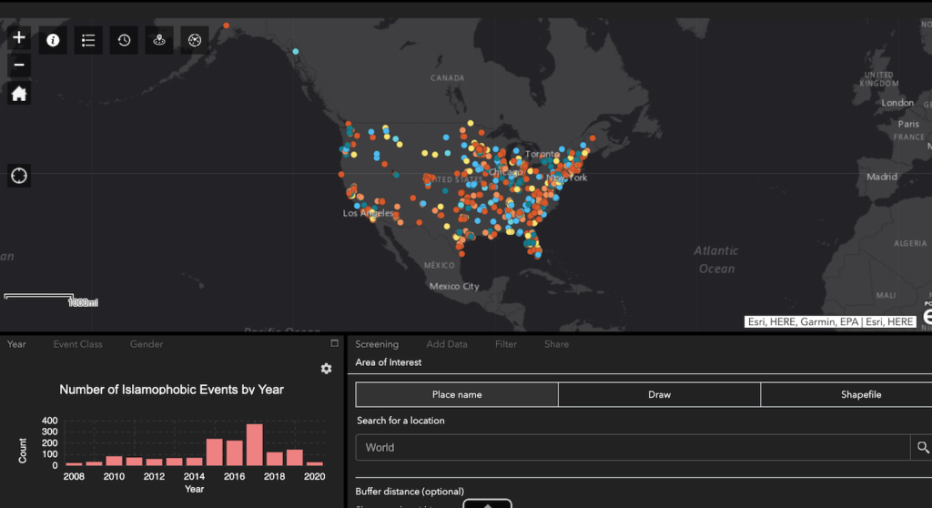 Screenshot of Mapping Islamophobia web app in ArcGIS Online