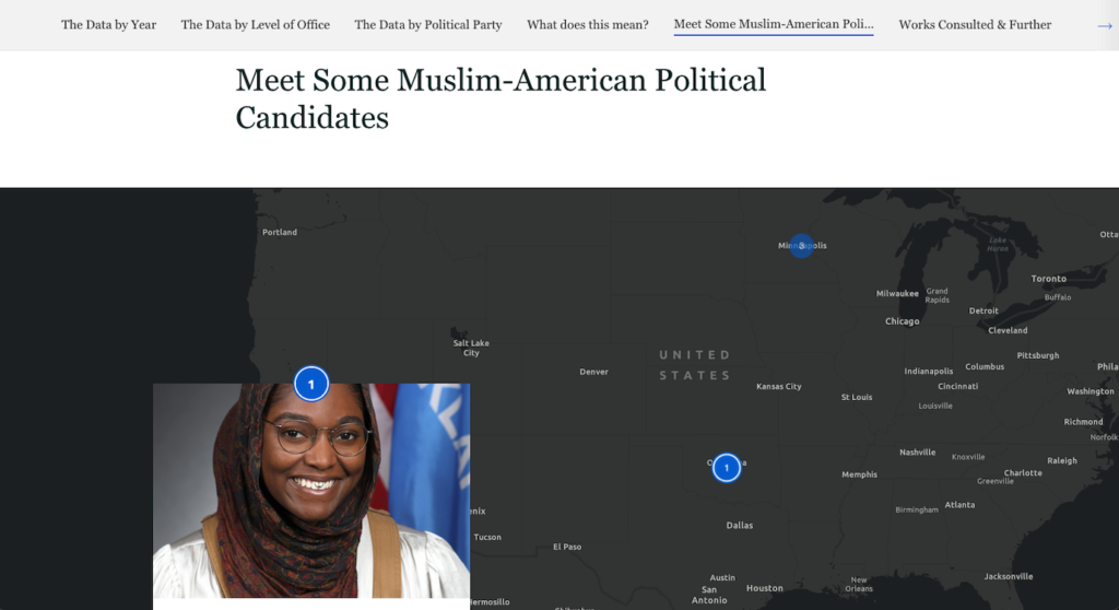 Screenshot of the Muslim Political Candidates companion resource page with a map and photo of a political candidate